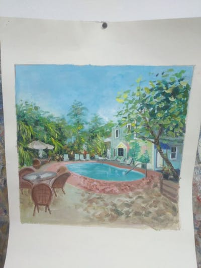 A painting of property, resort, swimming pool, leisure, home, real estate, estate, villa, backyard, hotel
