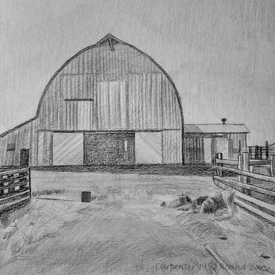 A painting of barn, black and white, building, monochrome photography, shed, monochrome, facade