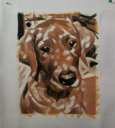 A painting of dog, dog breed, dog like mammal, snout, dog breed group, vizsla, redbone coonhound, dog crossbreeds, companion dog, carnivoran