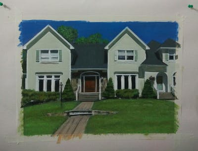 A painting of home, house, property, residential area, siding, estate, real estate, neighbourhood, suburb, lawn