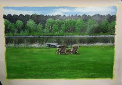 A painting of lawn, grass, yard, plant, backyard, landscape, tree, meadow, land lot, outdoor furniture