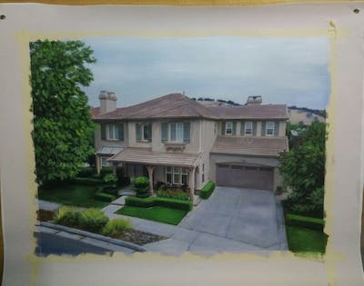 A painting of house, home, property, residential area, estate, neighbourhood, real estate, architecture, mansion, roof