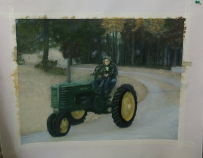 A painting of tractor, agricultural machinery, vehicle, soil, motor vehicle, rural area, tree, agriculture, farm, plough