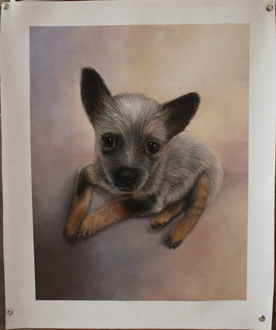 A painting of dog, dog like mammal, dog breed, puppy, dog breed group, chihuahua, snout, carnivoran, toy dog, whiskers