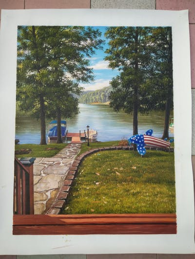 A painting of water, waterway, nature, body of water, tree, lake, reflection, plant, sky, river