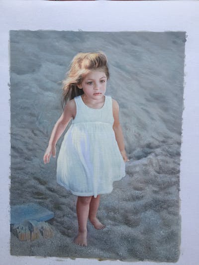 A painting of human hair color, girl, beauty, shoulder, dress, standing, child, photo shoot, textile, summer