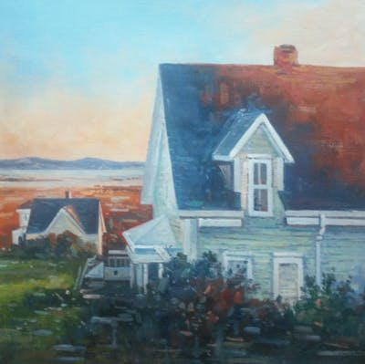 A painting of painting, sky, house, home, cottage, paint, evening, impressionist, artwork, art
