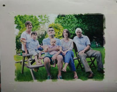 A painting of people, photograph, social group, sitting, fun, family reunion, family, picnic, grass, lawn