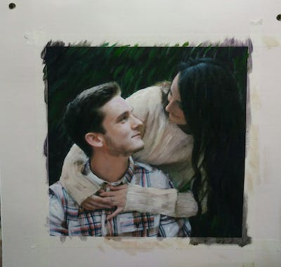 A painting of photograph, facial expression, skin, girl, emotion, photography, interaction, fun, smile, human body