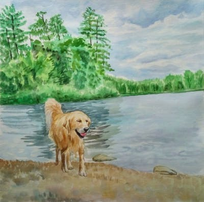 A painting of dog, water, dog like mammal, lake, bank, reservoir, pond, tree, sky, river