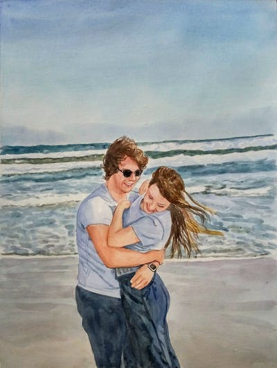 A painting of sea, photograph, body of water, beach, ocean, sky, vacation, fun, water, shore