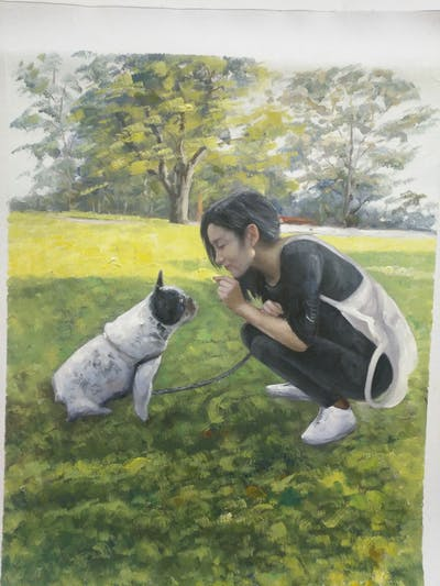 A painting of mammal, dog like mammal, vertebrate, dog, grass, dog breed, lawn, plant, dog breed group, fun