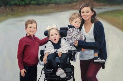 A painting of people, photograph, car, photography, product, child, vehicle, family, fun, baby carriage