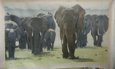 A painting of elephant, elephants and mammoths, wildlife, terrestrial animal, indian elephant, herd, african elephant, tusk, safari, fauna