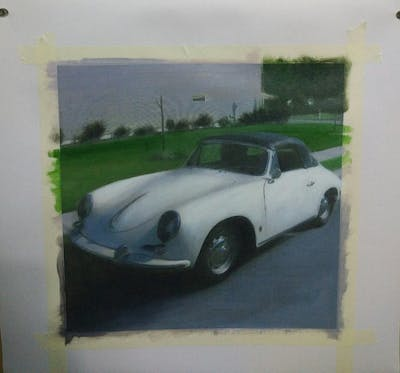 A painting of car, motor vehicle, vehicle, porsche 356, classic car, automotive design, sports car, automotive exterior, porsche, personal luxury car