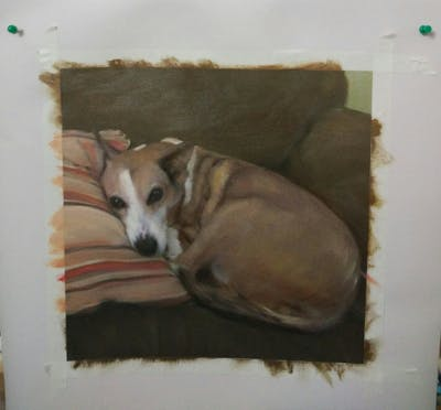 A painting of dog breed, dog, italian greyhound, snout, dog like mammal, whippet, dog crossbreeds, dog bed, greyhound, carnivoran