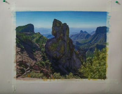 A painting of mountain, wilderness, rock, sky, mountainous landforms, badlands, vegetation, national park, escarpment, ridge