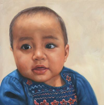 A painting of skin, child, toddler, arm, infant, product, girl, fun, finger, ear