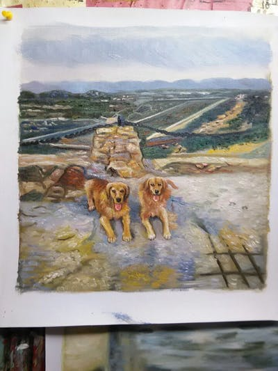 A painting of dog, dog like mammal, sky, sand, nova scotia duck tolling retriever, golden retriever, dog breed
