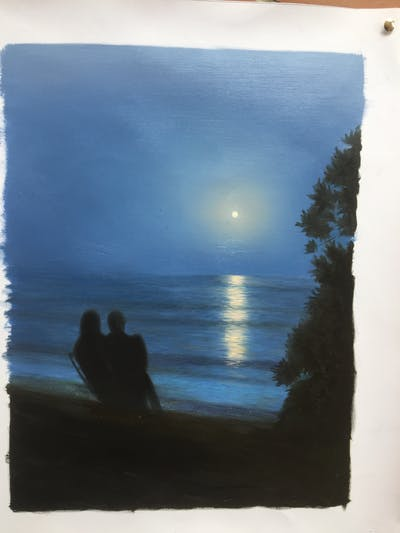 A painting of water, sky, atmosphere, reflection, sunrise, calm, horizon, morning, dawn, atmosphere of earth