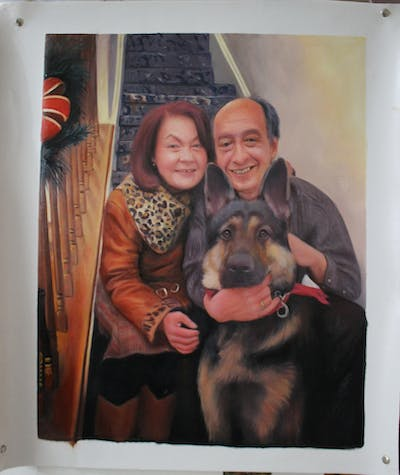 A painting of dog, dog breed, interaction, smile, snout, fun, dog like mammal, ear