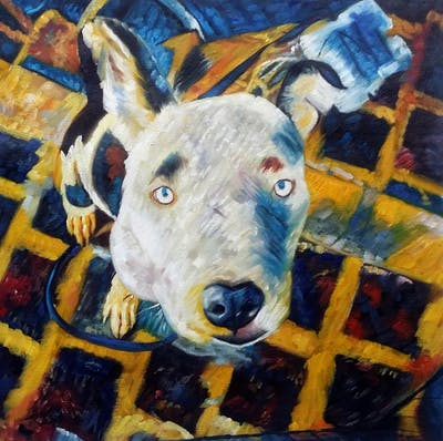 A painting of dog breed, dog, nose, snout, dog like mammal, whiskers, square, ear, dog crossbreeds