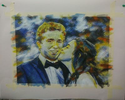A painting of photograph, bride, wedding, groom, groom, smile, interaction, event, ceremony, bridal clothing