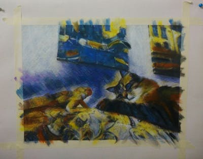 A painting of cat, mammal, fauna, small to medium sized cats, cat like mammal, whiskers, wood, carnivoran, tabby cat
