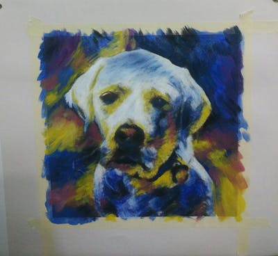A painting of dog, dog breed, dog like mammal, photo caption, labrador retriever, snout, retriever, puppy love, dog breed group, carnivoran