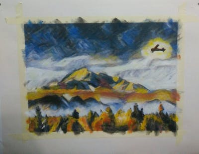 A painting of sky, ecosystem, mountain range, mountain, mount scenery, flight, hill station, atmosphere of earth, biome, tree