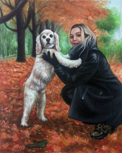A painting of dog, vertebrate, dog breed, dog like mammal, tree, autumn, golden retriever, dog walking, companion dog, retriever