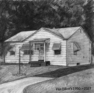 A painting of house, home, property, cottage, real estate, residential area, siding, farmhouse, shed, rural area