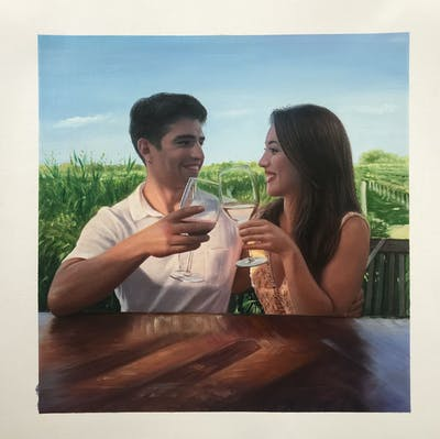 A painting of water, vacation, fun, drinking, stemware, friendship, summer, girl, honeymoon, romance