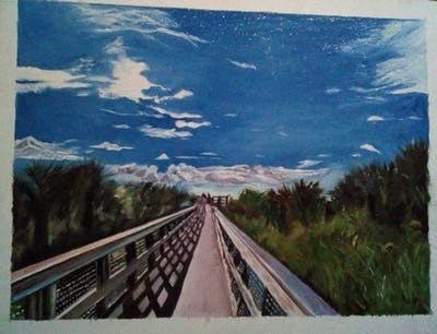 A painting of sky, cloud, track, transport, road, horizon, tree, highway, morning, meteorological phenomenon