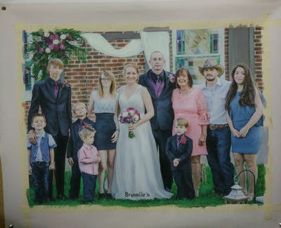 A painting of people, photograph, ceremony, wedding, bride, tradition, groom, event, backyard, bridesmaid