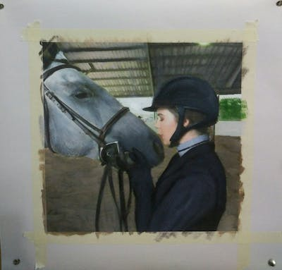 A painting of horse, bridle, horse tack, rein, mammal, horse like mammal, horse supplies, horse harness, stallion, snout