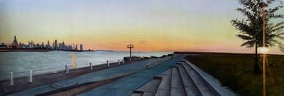 A painting of sky, waterway, horizon, sunrise, sunset, dawn, morning, evening, water, tree