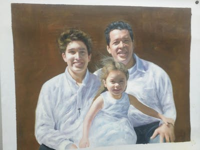 A painting of people, facial expression, man, person, smile, fun, male, emotion, family, father