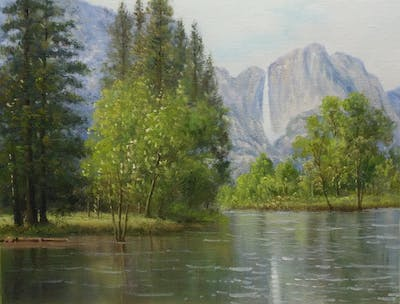 A painting of reflection, water, nature, body of water, water resources, wilderness, nature reserve, vegetation, lake, sky