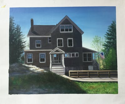 A painting of home, house, siding, property, cottage, residential area, real estate, farmhouse, estate, window