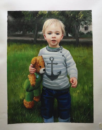 A painting of child, mammal, toddler, vertebrate, boy, grass, outerwear, play, fun, infant