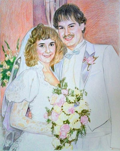 A painting of photograph, flower, bride, romance, love, wedding, bridal clothing, rose family, marriage, girl