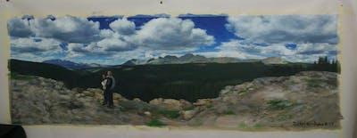 A painting of sky, mountainous landforms, cloud, ridge, mountain, wilderness, mountain range, geological phenomenon, rock, hill