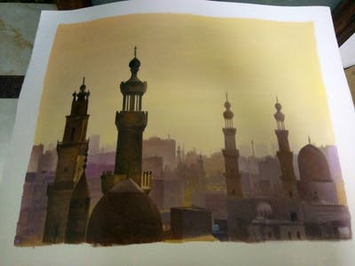 A painting of landmark, historic site, city, sky, metropolis, tourist attraction, spire, building, place of worship, mosque