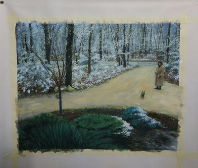 A painting of ecosystem, tree, grass, path, land lot, plant, landscape, soil, wood, asphalt