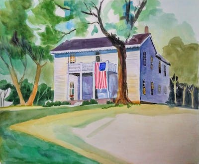 A painting of home, property, house, residential area, painting, watercolor paint, real estate, paint, estate, neighbourhood
