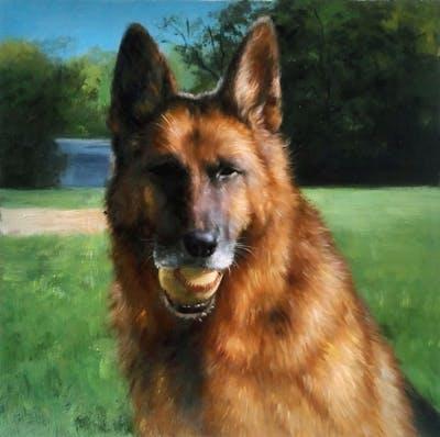 A painting of dog, old german shepherd dog, dog breed, dog like mammal, german shepherd dog, kunming wolfdog, dog breed group, king shepherd, tervuren, snout