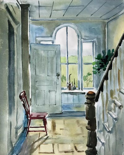 A painting of painting, watercolor paint, home, paint, window, house, artwork, facade, door, arch