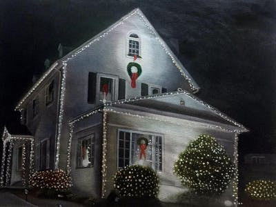 A painting of home, lighting, christmas lights, christmas decoration, house, night, decor, christmas, facade