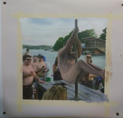 A painting of vacation, fun, water, leisure, barechestedness, recreation, summer, spring break, tourism, girl